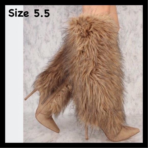 b862103ae1e1 Cape Robbin Khaki Faux Fur Knee High Boots